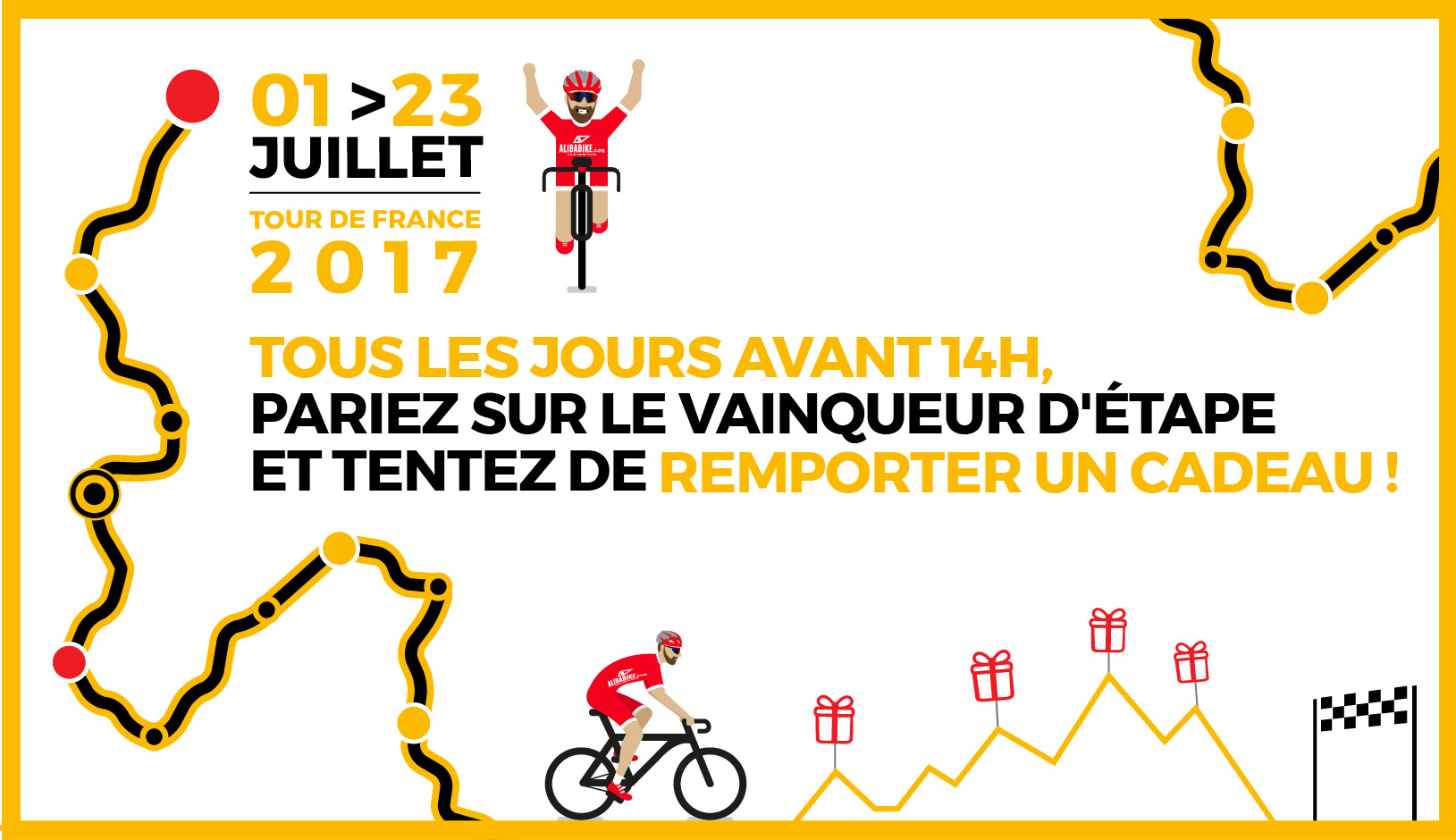 Tour de France 2017 Alibabike : tentez de gagner des cadeaux en pariant sur le vainqueur d'étape
