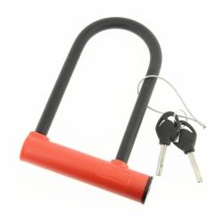 Antivol U ADD-ONE mini diamètre 10mm hauteur 160mm largeur 75mm en acier niveau de protection 6/10 à clefs