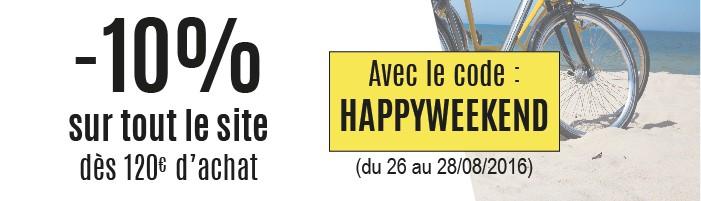 -10% sur tout le site dès 120€ d'achat - avec le code : HAPPYWEEKEND