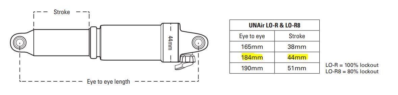 Amortisseur VTT SR SUNTOUR RS17 Unair LO-R 184x44mm3
